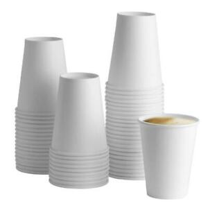 [100 Pack] 12 oz. White Paper Hot Cups - Coffee 12 Ounce,