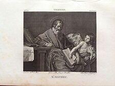 SAN MATTEO Evangelista Incisione originale XIX secolo RELIGIOSE Valentino