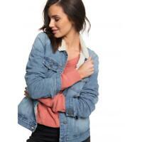Roxy Womens Size XS SANDY SHERPA LINED DENIM Jacket New - ARJJK03031 Rrp $139.99