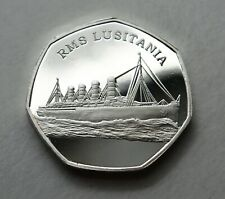RMS LUSITANIA RMS TITANIC SINKS.  50P COIN COLLECTORS. PRODUCTION ERROR.SILVER