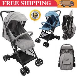 2 in 1 Foldable Baby Stroller Pushchair Pram Toddler Buggy Adjustable Backrest