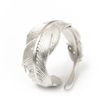 Solid 925 Sterling Sliver Wrap Feather Open Band Angel Wing Leaf Silver Ring