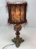 Vintage Brass Candlestick Type Lamp with Fringy Lampshade W/ Gemstones On Base