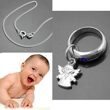 Jungen Baby Taufe Schutzengel mit Kreuz Taufring Safir Echt Silber 925 mit Kette