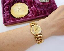 Antique 12k TRI Rose Gold GF Sweetheart Expansion Bracelet Compact BOX SET MK