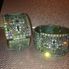 Heidi Daus Once Upon A Time Hinged Rhinestone Bracelet Set/Pair -Crystal Bangle