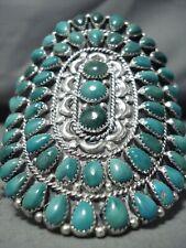 Important Best Vintage Navajo Green Turquoise Sterling Silver Bracelet