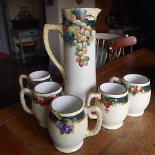 Vintage Limoges HP Lemonade Cider 6-Piece Set Pitcher & Mugs-FRUIT-Artist Signed