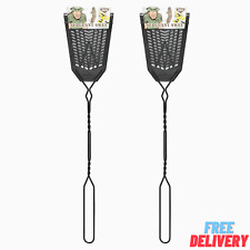 2 Pcs Heavy Duty Plastic Fly Swatter X Insect Mosquito Bug Zapper Metal Handle