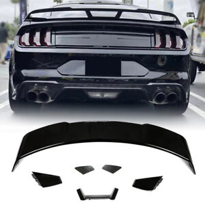 For Ford Mustang Coupe 15-19 Rear Trunk Spoiler Boot Lip Wing Glossy Black ABS
