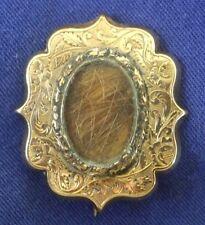 "Gold Victorian Engraved Mourning/Keepsake Pin Back Brooch Named ""Hoofner"""