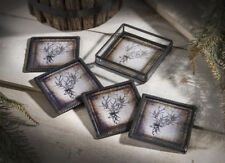 J Devlin Glass Art Stained Glass & Metal DEER & ANTLERS Coasters Set 4 w/ Holder