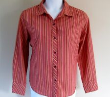 Studio Works Size XL Orange Striped Long Sleeve Blouse