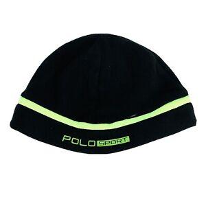 Polo Ralph Lauren Beanie Ski Hat Skull Cap Fleece Black Green Zip Pocket O/S