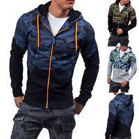 Men's Camouflage Hoodie Hooded Sweatshirt Coat Jacket Outwear Jumper Sweater