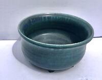 "Planter Studio art pottery blue green glaze heavy 7"" pot for plants signed"