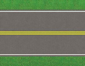 O Scale Roads Model Train Scenery Sheets Double Yellow Rural - Five 8.5x11