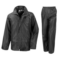 MEN WATERPROOF MOTORCYCLE MOTORBIKE 2 PIECE RAIN OVER JACKET TROUSER SUIT