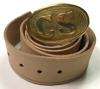 CIVIL WAR CSA CONFEDERATE ENLISTED FIELD BELT & BUCKLE-SIZE IV (FITS 38-48 INCH)