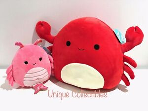 "Squishmallows Carlos Crab 12"" and Simone Shrimp 7"" Bundle Brand New Hard to Find"