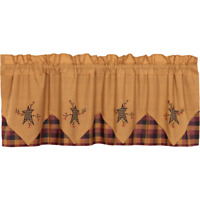 """New Primitive Country Mustard Red Black STAR BERRY VINE VALANCE  Curtains 60"""""""