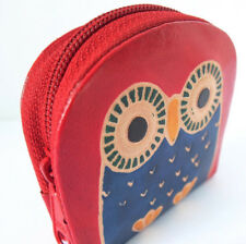 DARK RED & BLUE LEATHER OWL COIN PURSE. HAND MADE, FAIR TRADE ZIP TOP. NEW.