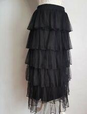 Womens GINGER black Tulle Ruffle Skirt Size S/M