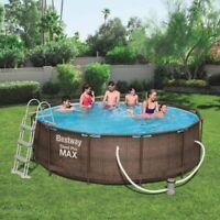 Bestway Steel Pro Max Frame Pool Komplettset, rund, Rattan 366 x 100 cm 9150l