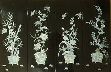 New listing Vintage mother of pearl panels depicting bonsai plants set of 4 mid 1900-s f36 c