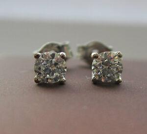Brand New 0.60ct Diamond 18ct White Gold Stud Earrings £650 Freepost
