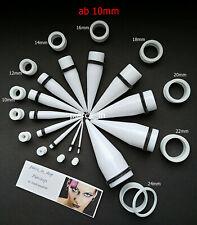 Tunnel Dehnstab Set acryl weiß 10mm -24mm Ohr dehnen Piercing Expander Dehner