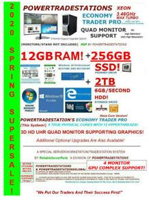 DELL TRADING COMPUTER POWERFUL 4Mon 3.46GHzMaxTURBO 256SSD &2TBHDD 12GBRAM W10P