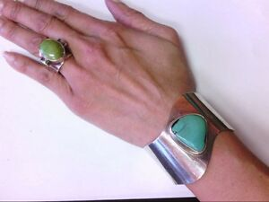 Nice Sterling Silver 925 Cuff Bracelet w/ Turq. and 925 MICHAEL Ring w/ Peridot.