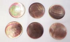 6 Smoky Mother of Pearl Buttons Disc Iridescent Shell Antique Metal Shank Huge 9