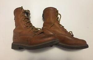 Work Boots Men's 9 Georgia Farm & Ranch Brown Genuine Leather High Tops G3113