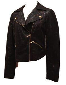 Rock & Republic Moto Biker Jacket Black Gold Faux Leather Snakeskin - Womens M