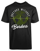 Doctors Without Borders Heart Beat New Men's Shirt World Map ECG Cool Super Tees