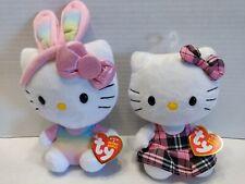 Ty Beanie Babies•Hello Kitty Rainbow Bunny Ears, Pink and Black Plaid•Plush