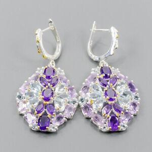 Handmade jewellery SET Amethyst Earrings Silver 925 Sterling   /E46772