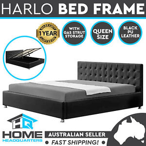Harlo Queen Size Bed Frame Gas Lift Storage PU Upholstered Faux Leather Black