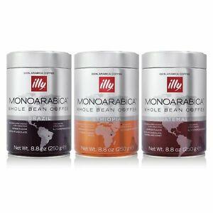 illy MonoArabica Whole Bean Coffee Trio of Brazil, Ethiopia and Guatemala
