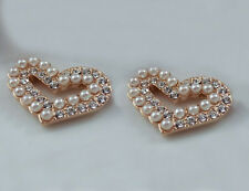 18ct 18k Rose gold GF Heart Pave Crystal White Pearl Earrings