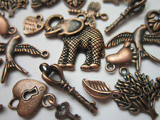 30 pcs Tibetan Style Pendants charms mix antique red copper