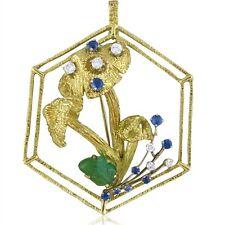 Vintage 1970s Peter Lindeman Whimsical Gem Set 18k Gold Brooch Pin Pendant