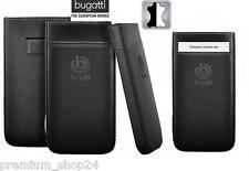 BUGATTI PURE PREMIUM CASE TASCHE HANDYTASCHE ETUI für HTC Desire X in schwarz