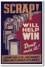 Scrap Will Help Win - NEW Vintage WW2 Reprint POSTER