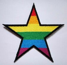 RAINBOW GAY PRIDE STAR SYMBOL Embroidered Iron on Patch Free Shipping