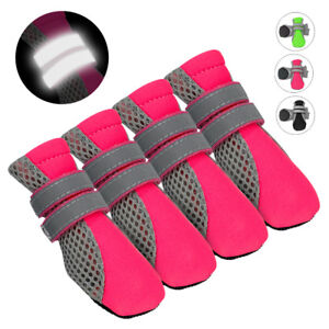 4pcs Anti-slip Dog Shoes Reflective Mesh Socks Boots Booties for Small Large Dog