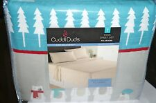 "CUDDL DUDS Twin Heavyweight Cotton Flannel Sheet Set ""Polar Bear"" New In Package"