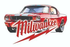 MILWAUKEE TOOLS STICKER DECAL MUSTANG ROD MECHANIC GLOSSY LABEL TOOL BOX USA